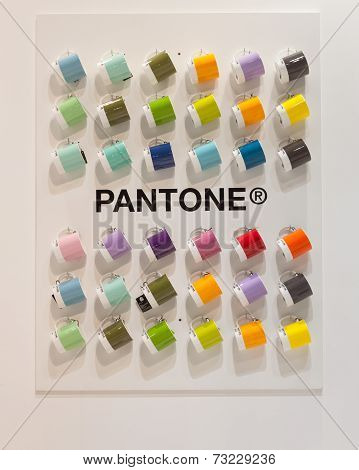Pantone Mugs On Display At Homi, Home International Show In Milan, Italy
