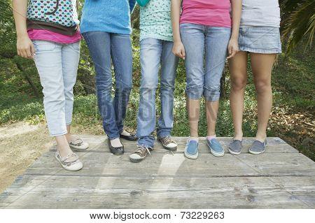 Low section close up of Hispanic teenaged girls