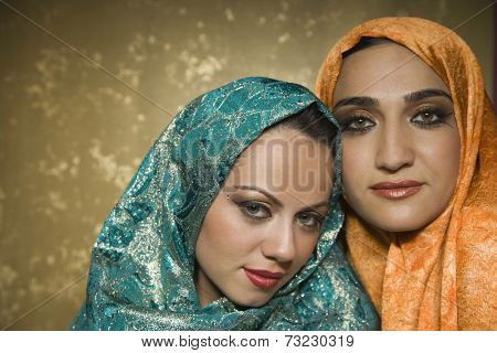 Middle Eastern women wearing head scarves