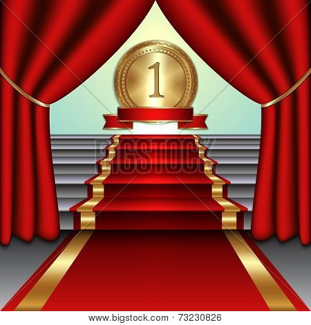 Vector abstract illustration of curtains, red carpet on staircase with  gold medal and ribbon