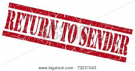 Return To Sender Red Square Grunge Textured Isolated Stamp