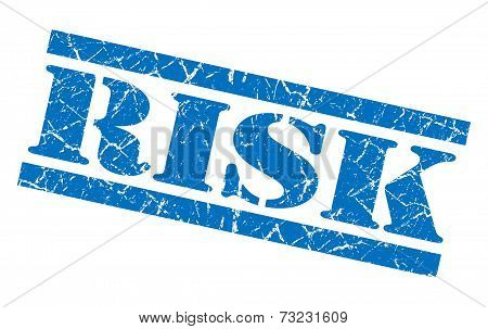 Risk Blue Square Grunge Textured Isolated Stamp