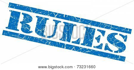 Rules Blue Square Grunge Textured Isolated Stamp