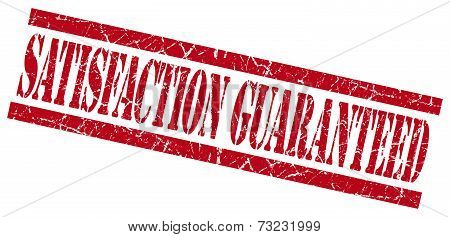 Satisfaction Guaranteed Red Square Grunge Textured Isolated Stamp