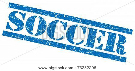 Soccer Blue Square Grunge Textured Isolated Stamp