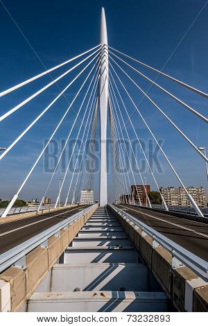 cable stayed bridge showing center column and cables