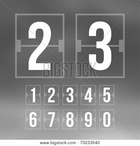Outline countdown timer, white color flat mechanical scoreboard