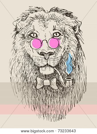 artwork of hipster lion smoking tube in pink glasses