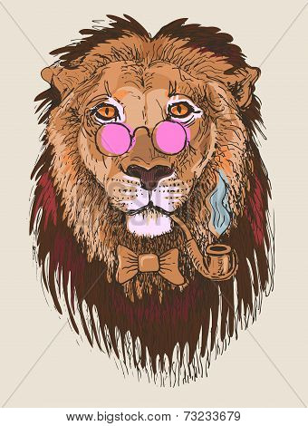 artwork of hipster lion smoking tube in pink glasses, sketch dra