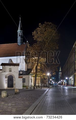 Aancient Tenements And Church In Krakow, Poland
