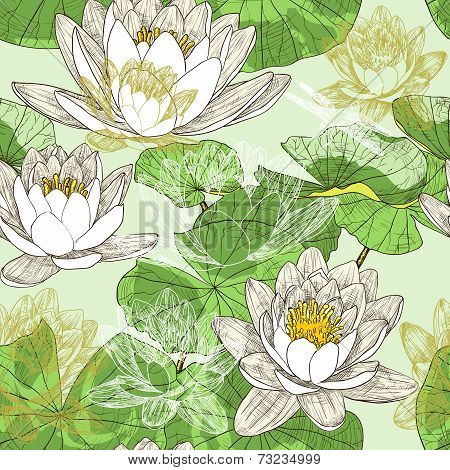 Seamless floral background with blooming water lilies and flying dragonflies