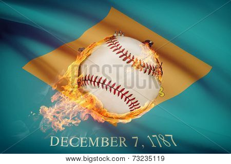Baseball Ball With Flag On Background Series - Delaware