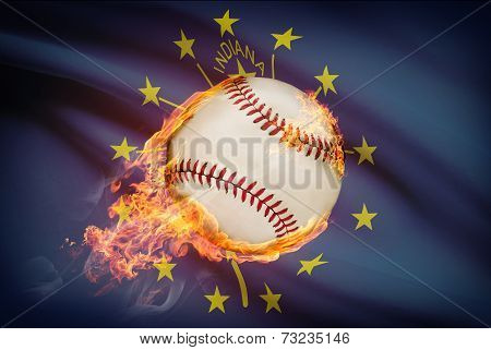 Baseball Ball With Flag On Background Series - Indiana