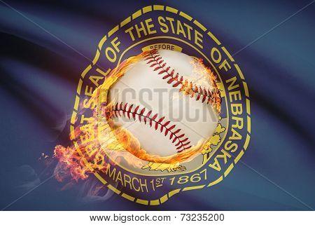 Baseball Ball With Flag On Background Series - Nebraska