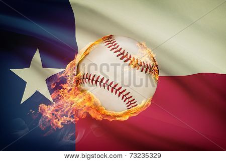 Baseball Ball With Flag On Background Series - Texas