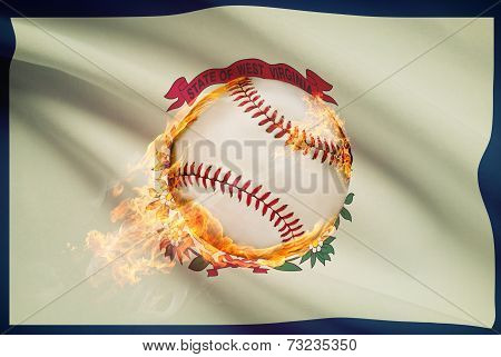 Baseball Ball With Flag On Background Series - West Virginia
