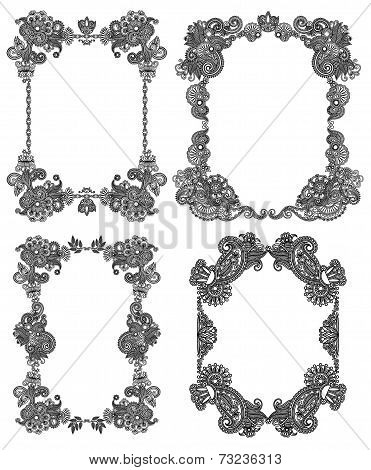 Vector set of calligraphic design vintage frame, black line art