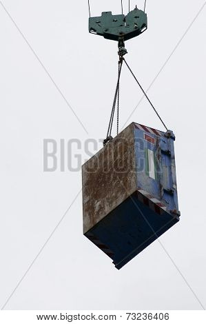 Crane hook with container