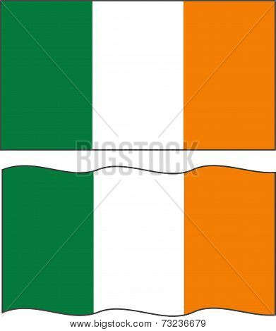 Flat and waving Irish Flag. Vector