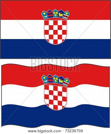 Flat and waving Croatian Flag. Vector