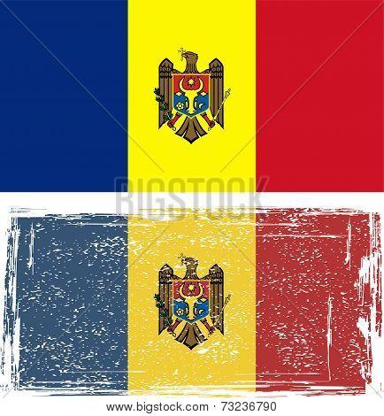 Moldovan grunge flag. Vector illustration