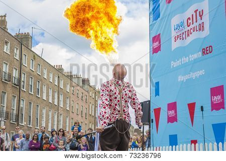 Fire-eater In The Laya Healthcate City Spectacular Festival In Dublin