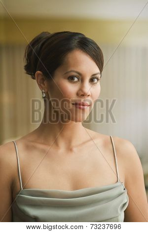 Mixed Race woman in evening wear