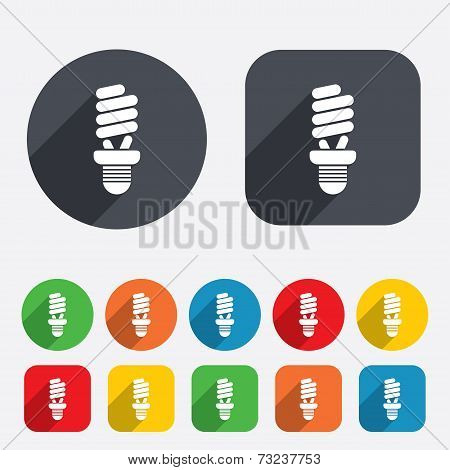 Fluorescent lamp bulb sign icon. Energy saving.