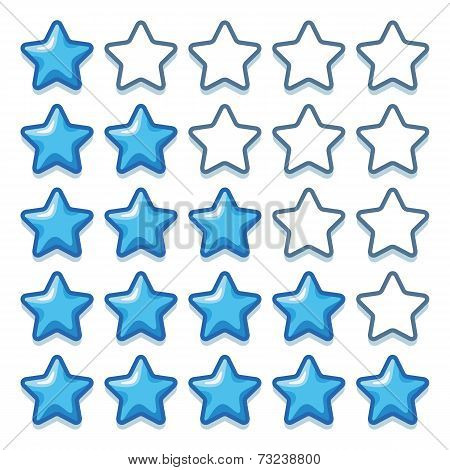 Game ice web rating stars set on white
