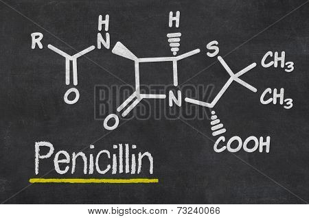 Blackboard with the chemical formula of Penicillin