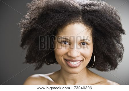 African American woman with fluffy hair
