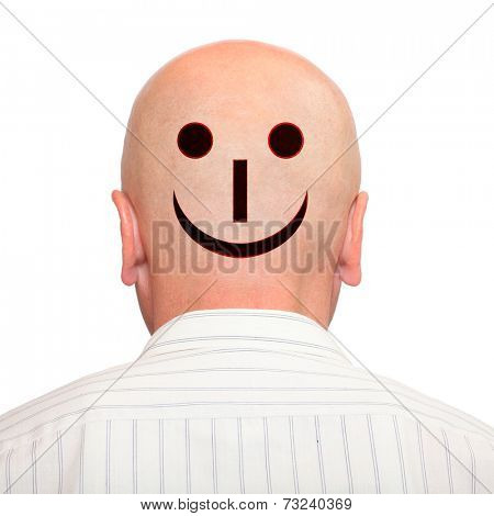 Emoticon on hairless head. Positive thinking concept.