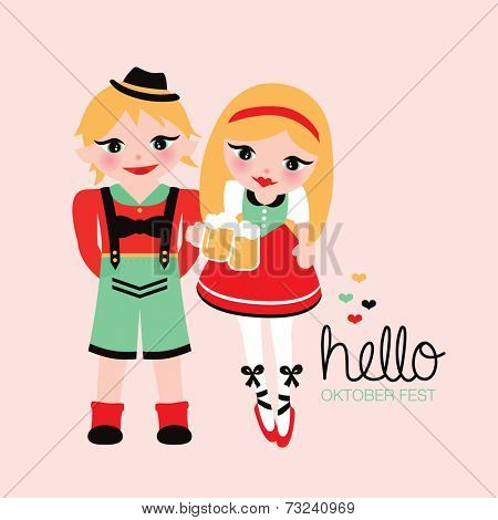 Fun lederhosen and dirndl german illustration traditional german oktoberfest costumes postcard cover design in vector