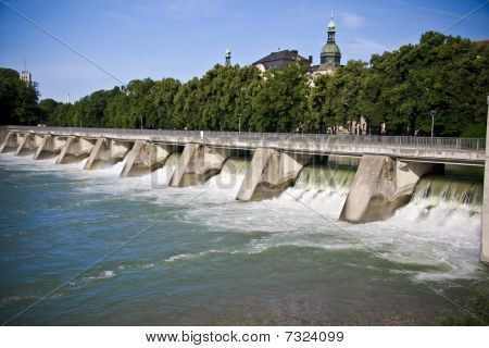 Levee - Historic Barrage on Isar river in Munich, Germany