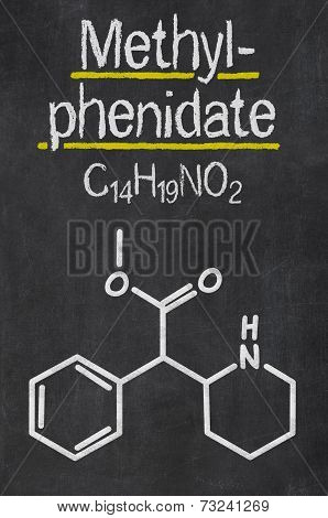 Blackboard with the chemical formula of Methylphenidate