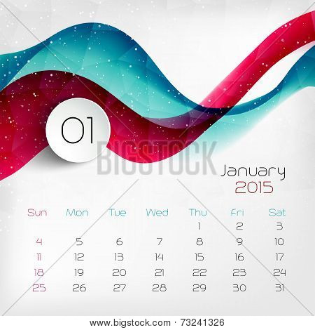 2015 Calendar. January. Vector Illustration