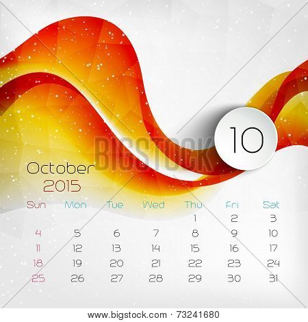 2015 Calendar. October. Vector Illustration