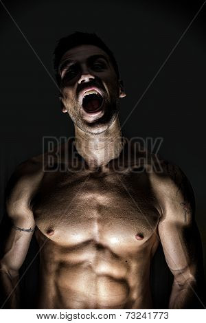 Illuminated Sexy Werewolf Man Opening His Mouth