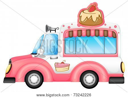 Illustration of a pink vehicle selling cakes on a white background