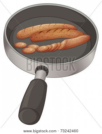 Illustration of a pan with sausages on a white background