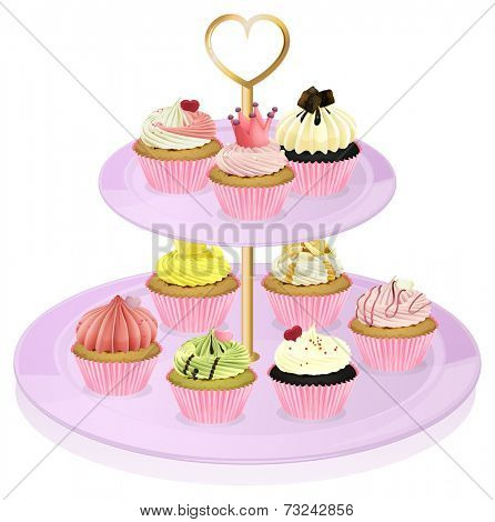 Illustration of a cupcake stand with cupcakes on a white background