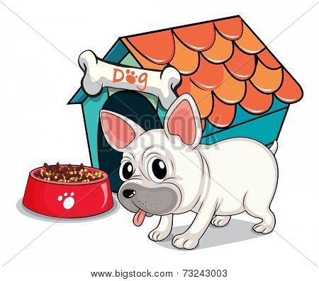 Illustration of a cute bulldog outside the doghouse on a white background