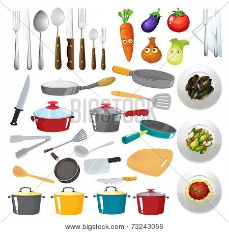 Illustration of kitchen untensils
