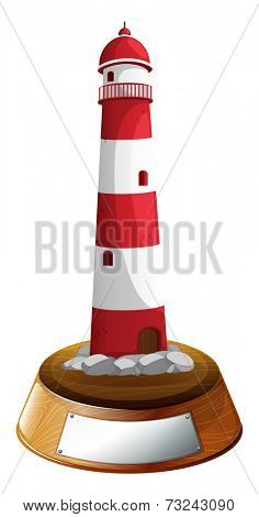 Illustration of a tower decor with an empty label on a white background