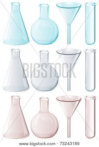 Illustration of the different laboratory instruments on a white background
