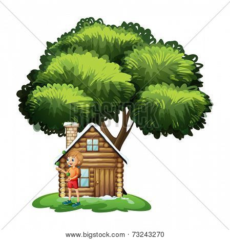 Illustration of a young girl playing outside the small house under the tree on a white background