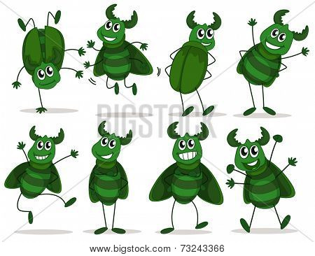 Illustration of the eight green bugs on a white background