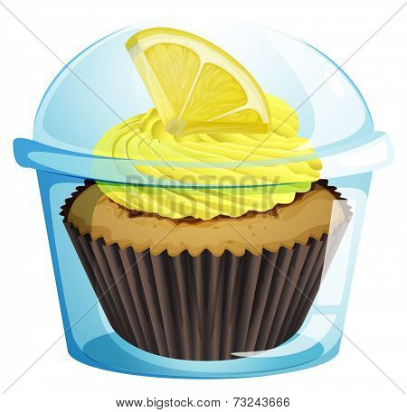 Illustration of a disposable cup with a mocha-flavored cupcake on a white background