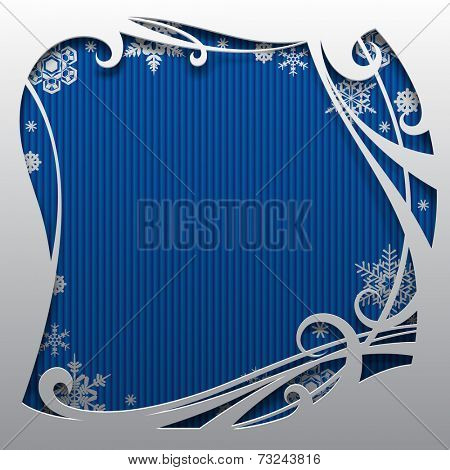 Vector Christmas and New-Year's square greeting card and poster with blue background and snowflakes. Christmas and New-Year's background with frame