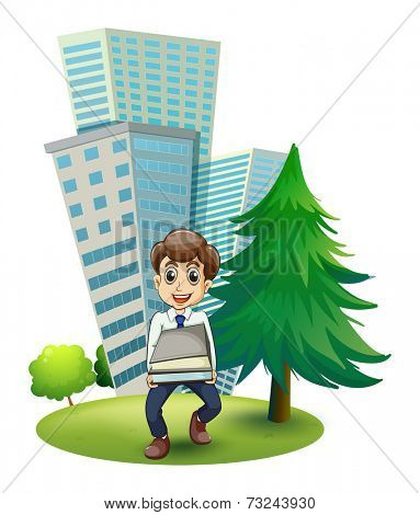 Illustration of a hardworking man outside the building on a white background
